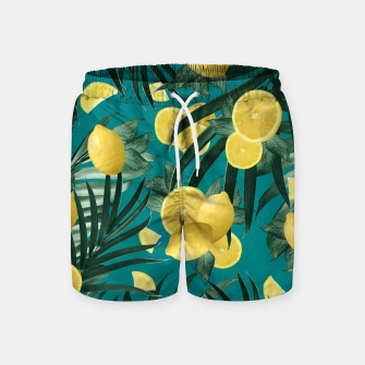 Thumbnail image of Summer Lemon Twist Jungle #5 #tropical #decor #art Badeshorts, Live Heroes