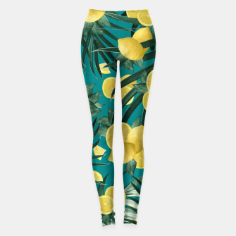 Summer Lemon Twist Jungle #5 #tropical #decor #art Leggings obraz miniatury