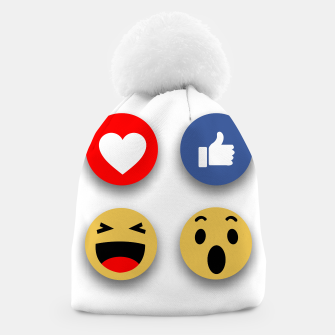 Thumbnail image of Social media face reaction emojis flat icons Beanie, Live Heroes