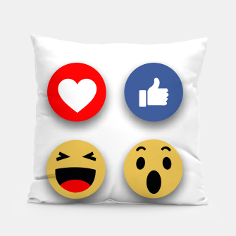 Thumbnail image of Social media face reaction emojis flat icons Pillow, Live Heroes