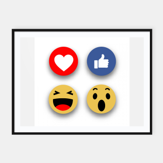Thumbnail image of Social media face reaction emojis flat icons Framed poster, Live Heroes