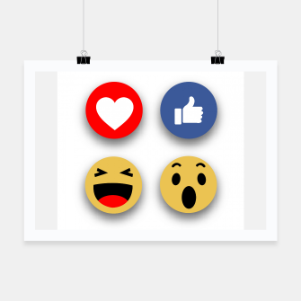 Thumbnail image of Social media face reaction emojis flat icons Poster, Live Heroes