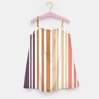 Thumbnail image of Earth colored pinstripes in soft murky colors Girl's dress, Live Heroes