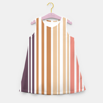 Miniature de image de Earth colored pinstripes in soft murky colors Girl's summer dress, Live Heroes