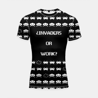 Thumbnail image of ¿Invaders or Work? Shortsleeve rashguard, Live Heroes