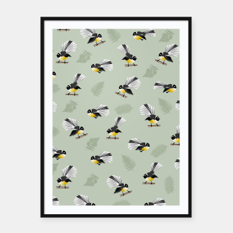 Thumbnail image of Fantail Bird Pattern Framed poster, Live Heroes