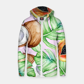 Thumbnail image of Fancy Tropical Pattern Reißverschluss kapuzenpullover, Live Heroes