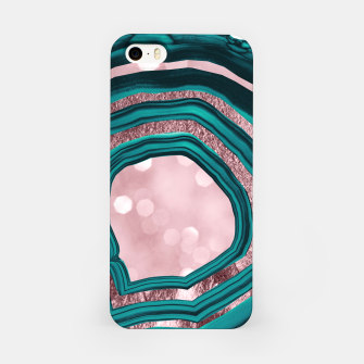 Agate Teal Rose Gold Blush #1 #abstract #shiny #decor #art iPhone-Hülle obraz miniatury