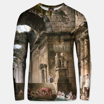Thumbnail image of Ruins Of A Roman Bath With Washerwomen by Hubert Robert Unisex sweater, Live Heroes