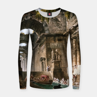 Thumbnail image of Ruins Of A Roman Bath With Washerwomen by Hubert Robert Women sweater, Live Heroes
