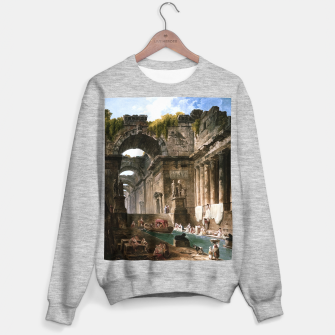 Thumbnail image of Ruins Of A Roman Bath With Washerwomen by Hubert Robert Sweater regular, Live Heroes