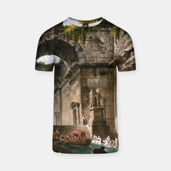 Thumbnail image of Ruins Of A Roman Bath With Washerwomen by Hubert Robert T-shirt, Live Heroes