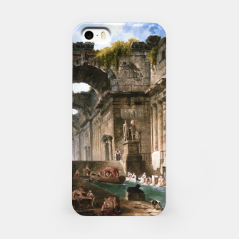 Thumbnail image of Ruins Of A Roman Bath With Washerwomen by Hubert Robert iPhone Case, Live Heroes