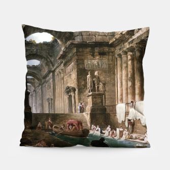 Thumbnail image of Ruins Of A Roman Bath With Washerwomen by Hubert Robert Pillow, Live Heroes