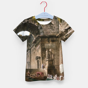 Thumbnail image of Ruins Of A Roman Bath With Washerwomen by Hubert Robert Kid's t-shirt, Live Heroes