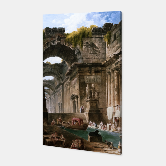 Thumbnail image of Ruins Of A Roman Bath With Washerwomen by Hubert Robert Canvas, Live Heroes