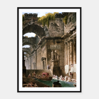 Thumbnail image of Ruins Of A Roman Bath With Washerwomen by Hubert Robert Framed poster, Live Heroes
