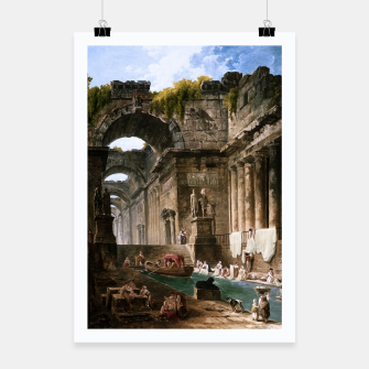 Thumbnail image of Ruins Of A Roman Bath With Washerwomen by Hubert Robert Poster, Live Heroes