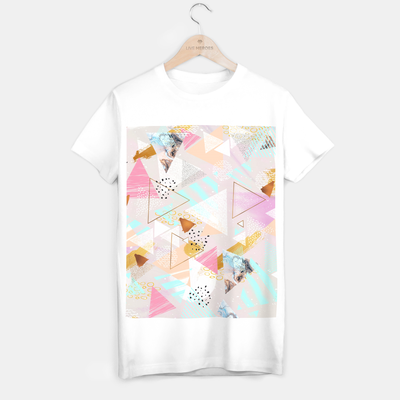 Image of Abstract geometric textures and marble Camiseta Regular - Live Heroes