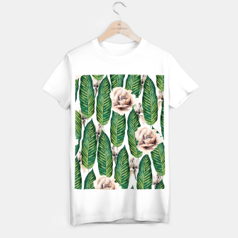 Miniature de image de Tropical leaves and white roses Camiseta Regular, Live Heroes