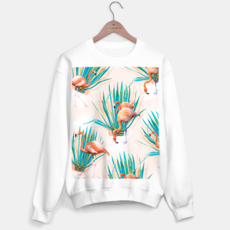 Thumbnail image of Anaglyph Flamingos with cactus Sudadera regular, Live Heroes