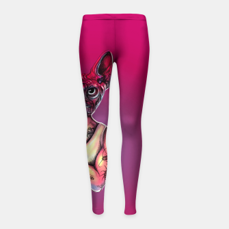 Imagen en miniatura de Sphynx Tattoed Cat Pink Girl's leggings, Live Heroes