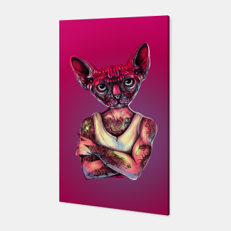 Thumbnail image of Sphynx Tattoed Cat Pink Canvas, Live Heroes