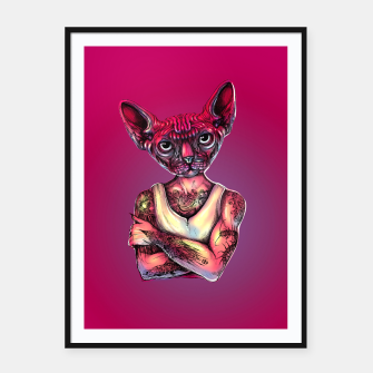 Thumbnail image of Sphynx Tattoed Cat Pink Framed poster, Live Heroes