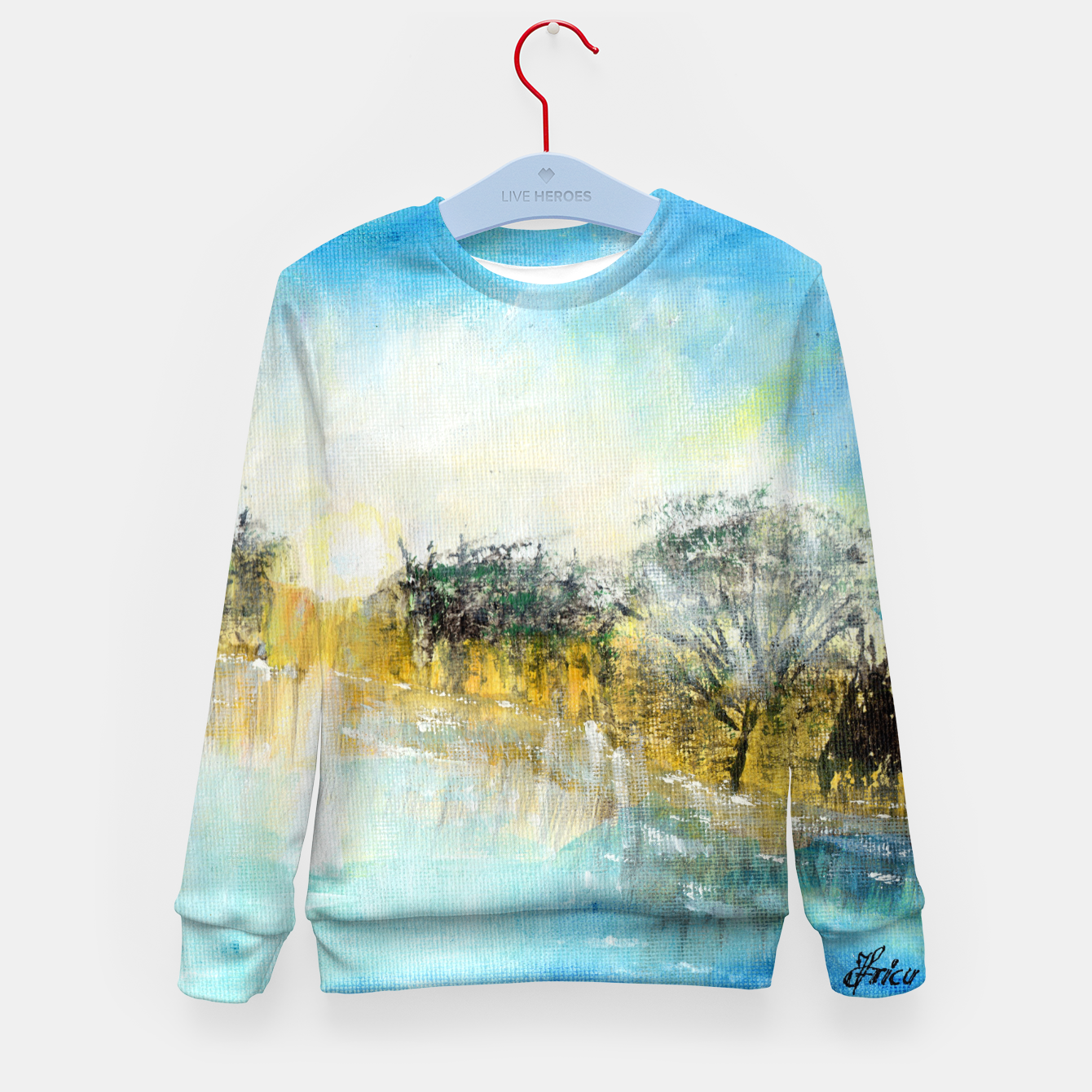 Image of At the lake 600dpi Abstract art Kid's sweater - Live Heroes