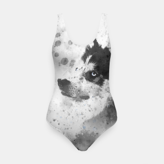 Thumbnail image of Husky Watercolor Portrait Badeanzug, Live Heroes