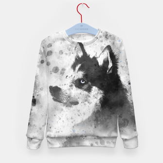 Thumbnail image of Husky Watercolor Portrait Kindersweatshirt, Live Heroes