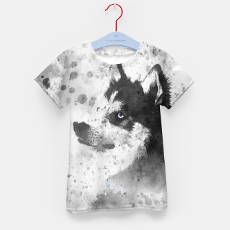 Thumbnail image of Husky Watercolor Portrait T-Shirt für kinder, Live Heroes