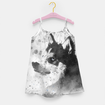 Thumbnail image of Husky Watercolor Portrait Mädchenkleid, Live Heroes