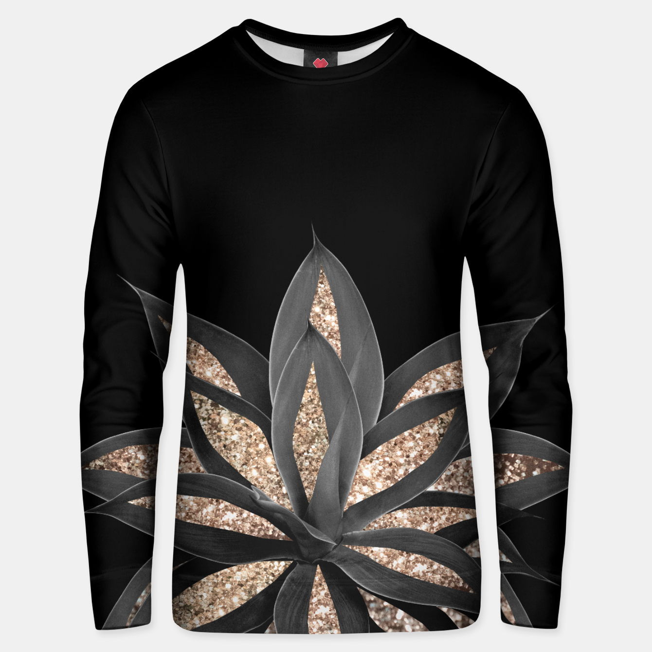 Image of Gray Black Agave with Gold Glitter #1 #shiny #tropical #decor #art  Unisex sweatshirt - Live Heroes