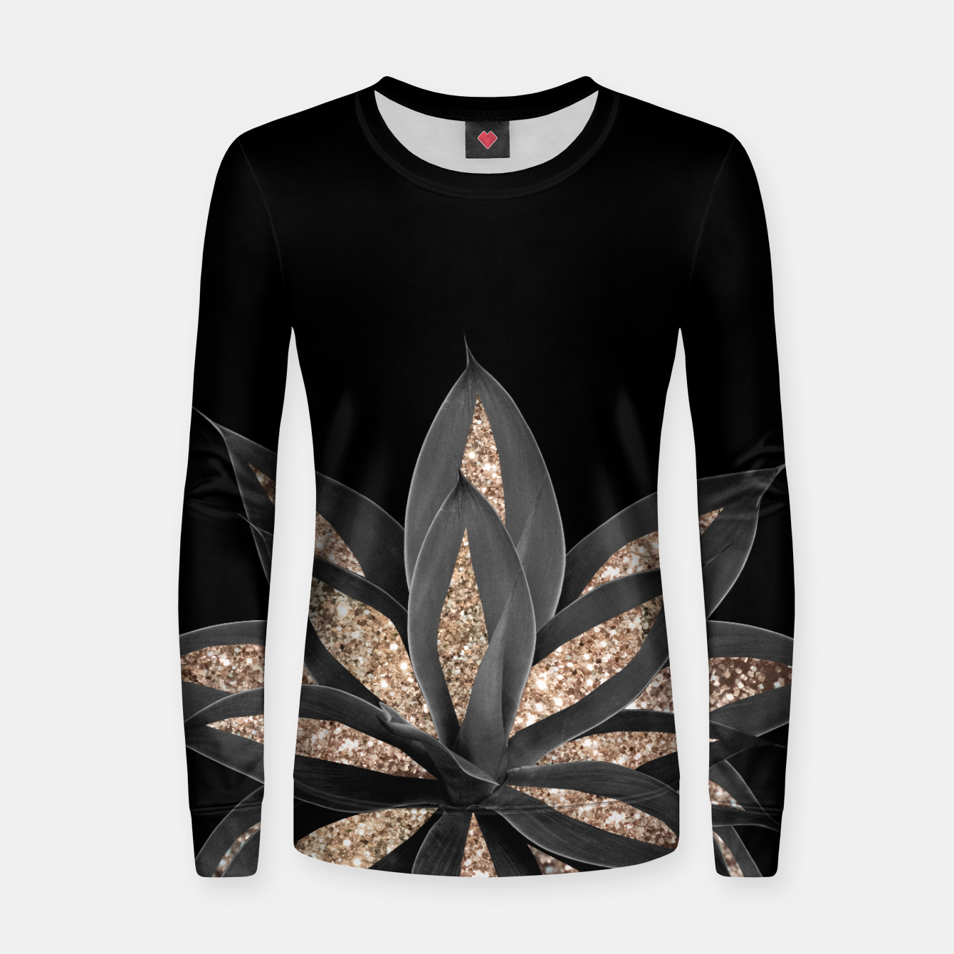 Image of Gray Black Agave with Gold Glitter #1 #shiny #tropical #decor #art  Frauen sweatshirt - Live Heroes