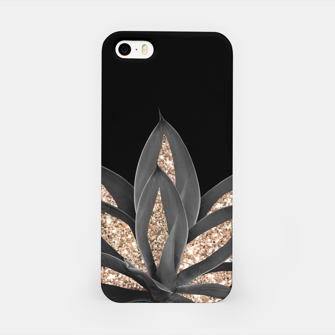 Image of Gray Black Agave with Gold Glitter #1 #shiny #tropical #decor #art  iPhone-Hülle - Live Heroes