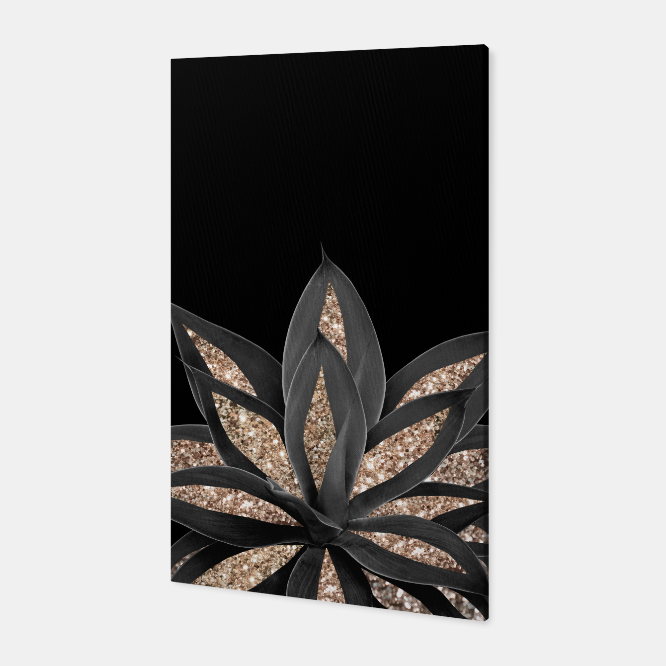 Image of Gray Black Agave with Gold Glitter #1 #shiny #tropical #decor #art  Canvas - Live Heroes