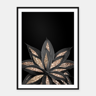 Miniaturka Gray Black Agave with Gold Glitter #1 #shiny #tropical #decor #art  Plakat mit rahmen, Live Heroes