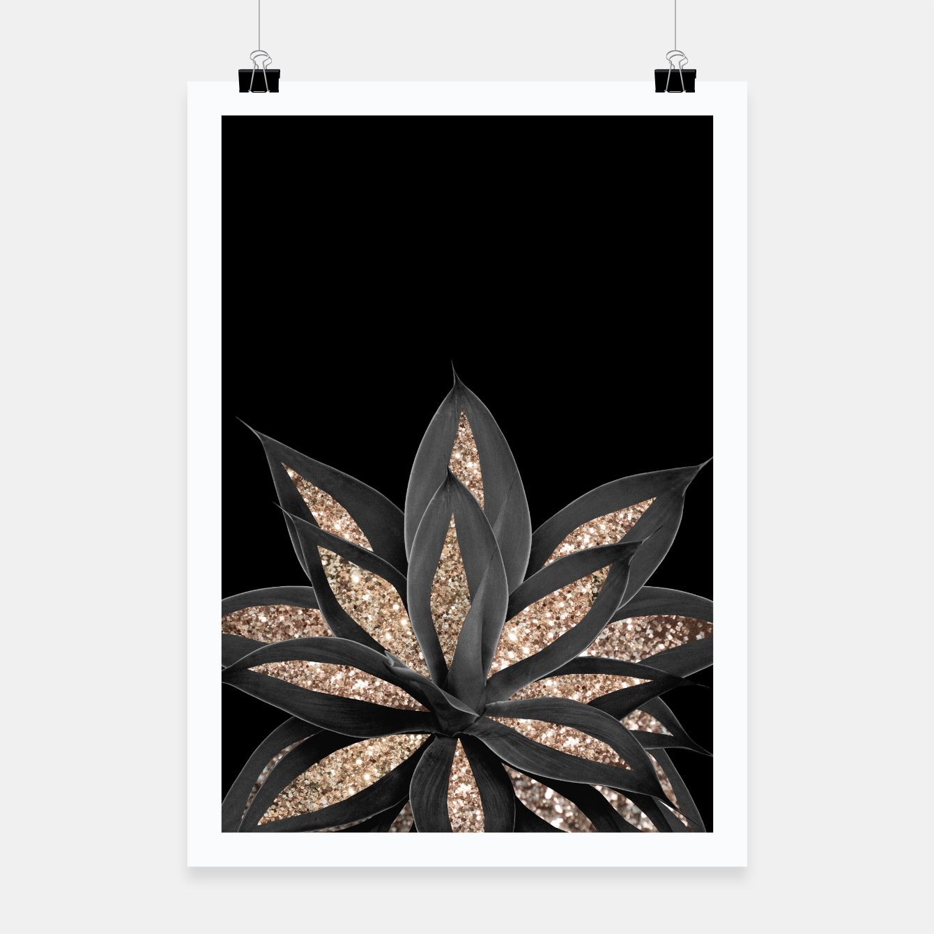 Image of Gray Black Agave with Gold Glitter #1 #shiny #tropical #decor #art  Plakat - Live Heroes