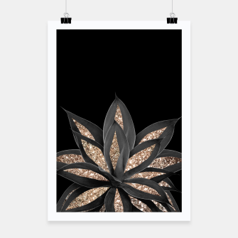 Miniaturka Gray Black Agave with Gold Glitter #1 #shiny #tropical #decor #art  Plakat, Live Heroes