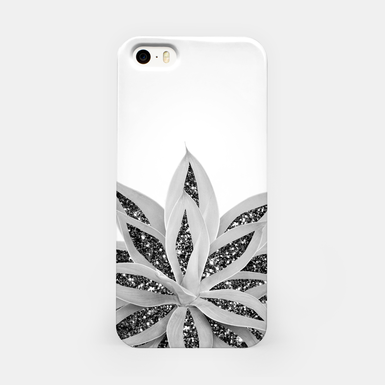Image of Gray Agave with Black Silver Glitter #1 #shiny #tropical #decor #art  iPhone-Hülle - Live Heroes