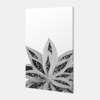 Thumbnail image of Gray Agave with Black Silver Glitter #1 #shiny #tropical #decor #art  Canvas, Live Heroes
