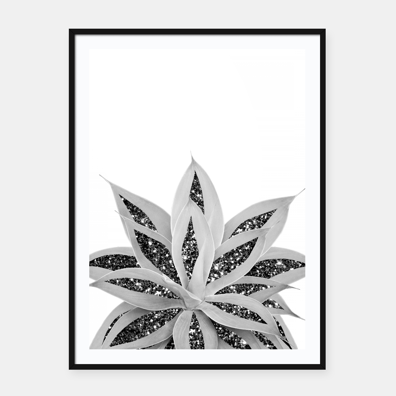 Image of Gray Agave with Black Silver Glitter #1 #shiny #tropical #decor #art  Plakat mit rahmen - Live Heroes
