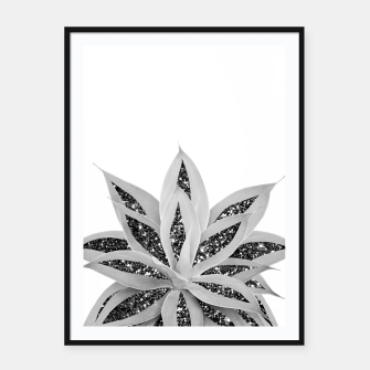 Thumbnail image of Gray Agave with Black Silver Glitter #1 #shiny #tropical #decor #art  Plakat mit rahmen, Live Heroes