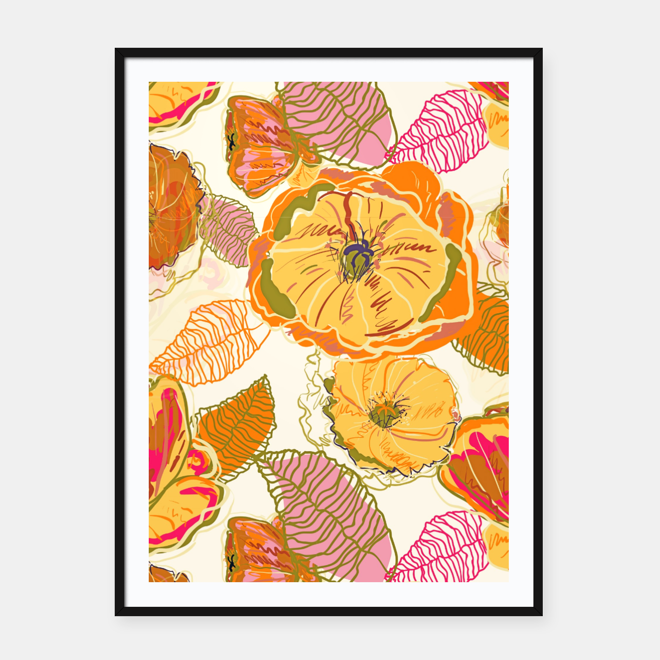 Image of Fall Floral Framed poster - Live Heroes
