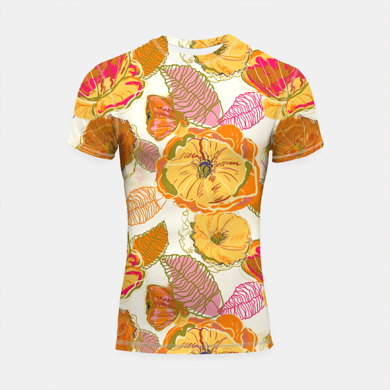 Image of Fall Floral Shortsleeve rashguard - Live Heroes