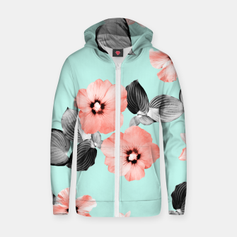 Thumbnail image of Living Coral Floral Dream #3 #flower #pattern #decor #art Reißverschluss kapuzenpullover, Live Heroes