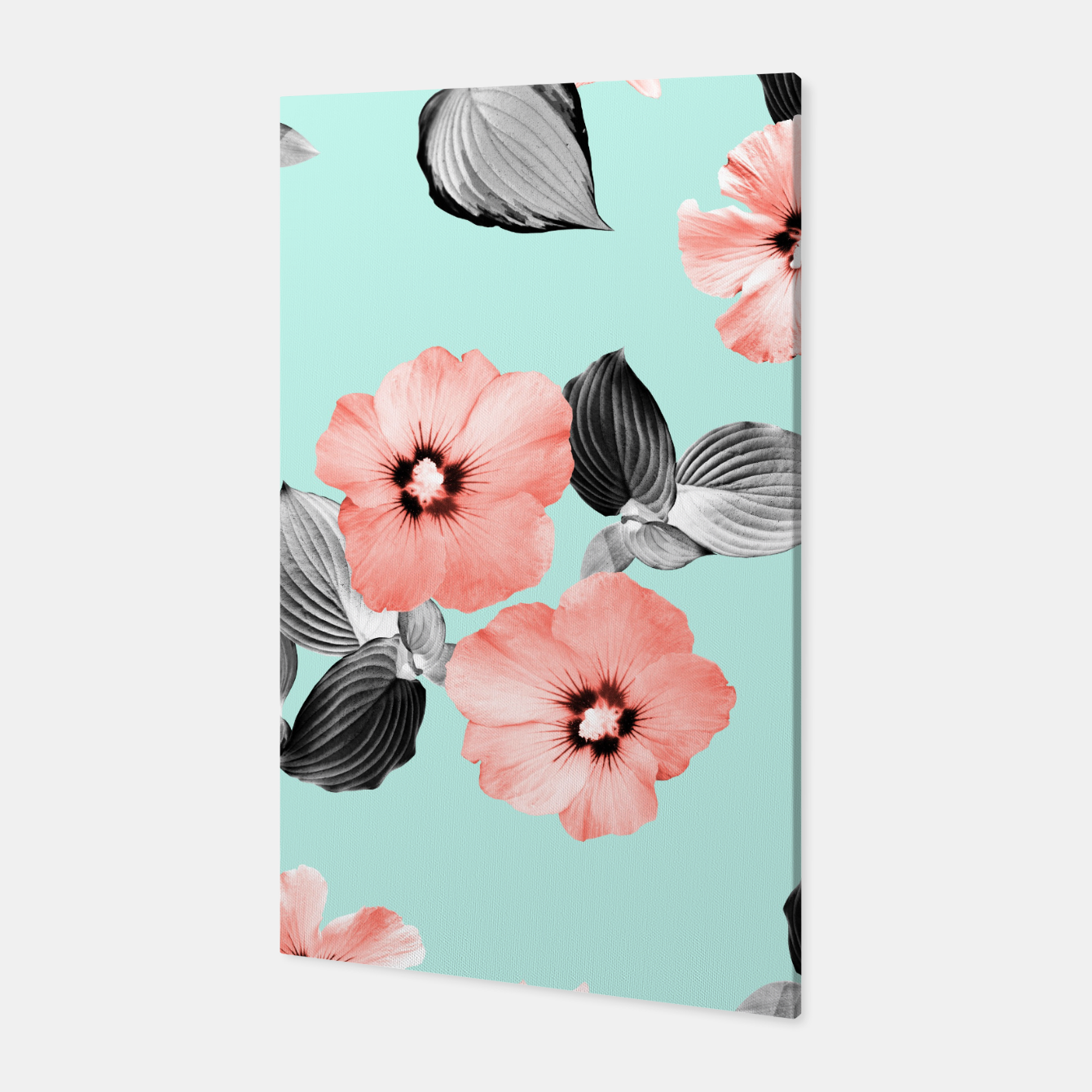 Image of Living Coral Floral Dream #3 #flower #pattern #decor #art Canvas - Live Heroes