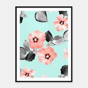 Thumbnail image of Living Coral Floral Dream #3 #flower #pattern #decor #art Plakat mit rahmen, Live Heroes