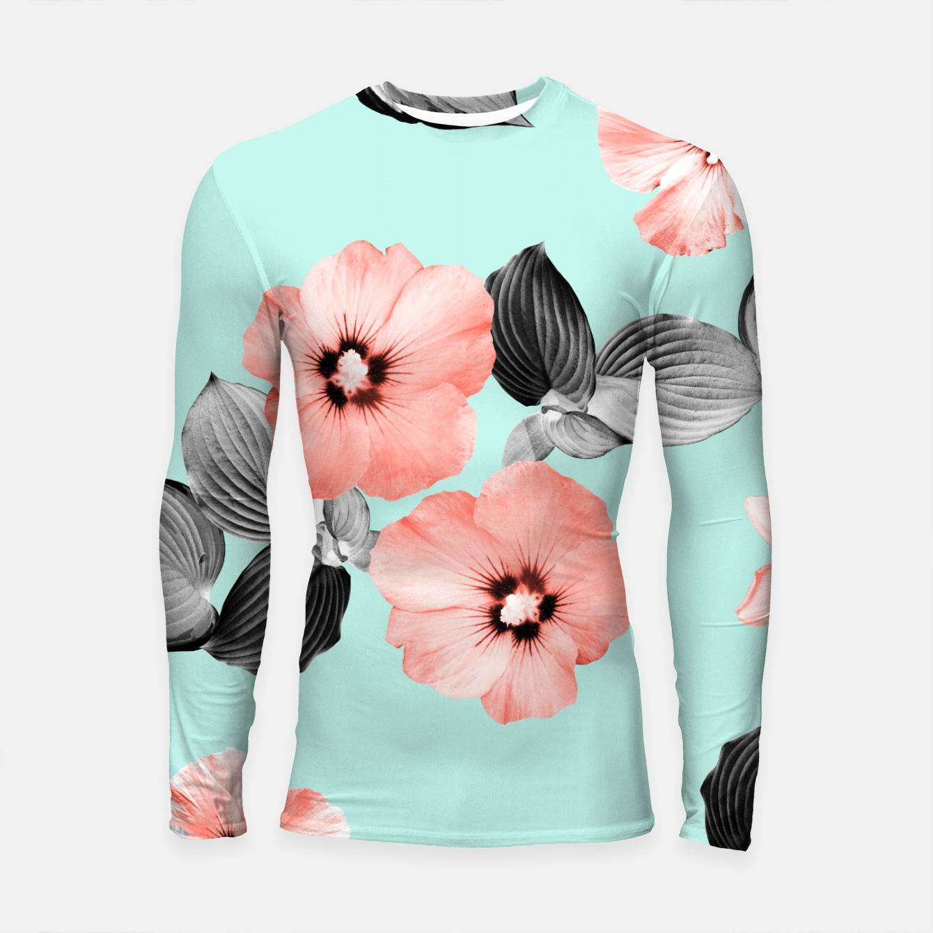 Image of Living Coral Floral Dream #3 #flower #pattern #decor #art Longsleeve rashguard - Live Heroes